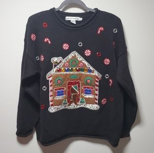Ugly Christmas Sweater Gingerbread House Sz Small